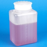 Bottle with Screwcap, Wide Mouth, Square, Graduated, PE (Cap: PP), 1000mL - Pack of 20