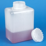 Bottle with Screwcap, Wide Mouth, Square, Graduated, PE (Cap: PP), 2000mL  - Pack of 6